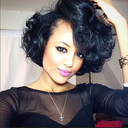 Women Curly Bob Black Wave Short Platinum