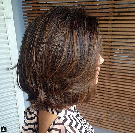 Brown Bob Balayage Highlights Black 205