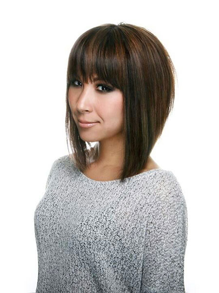 Bangs Synthetic Bob Thick Stacked Line