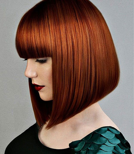Red Bob Woman Medium Bangs Ashley