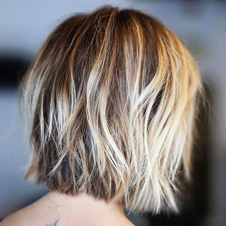 Short Fine Bob Balayage Blonde Thin Shaggy