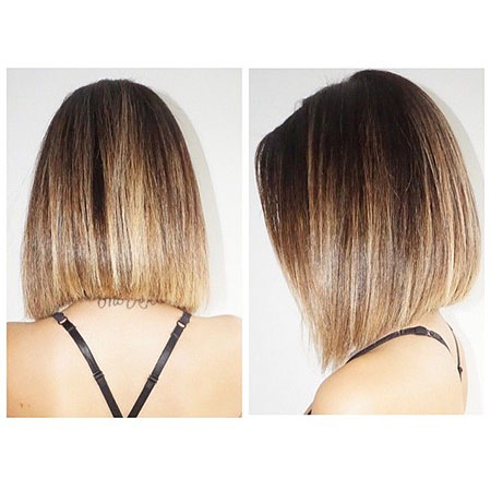 Bob Straight Ombre Highlights Balayage Line Blunt