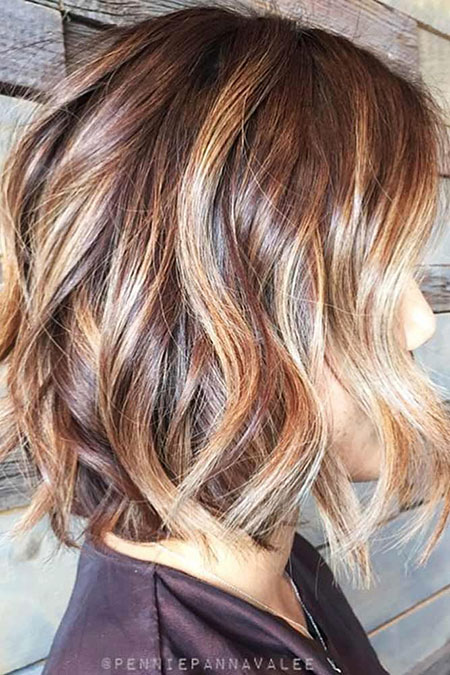 Balayage Highlights Bob Blonde Women Trendy Messy