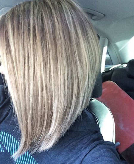 Bob Long Blonde Line Highlights Girl Balayage
