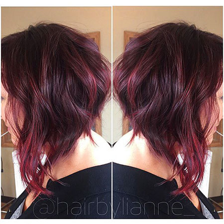 Bob Red Messy Long Inverted Waves Volume Vibrant Swept