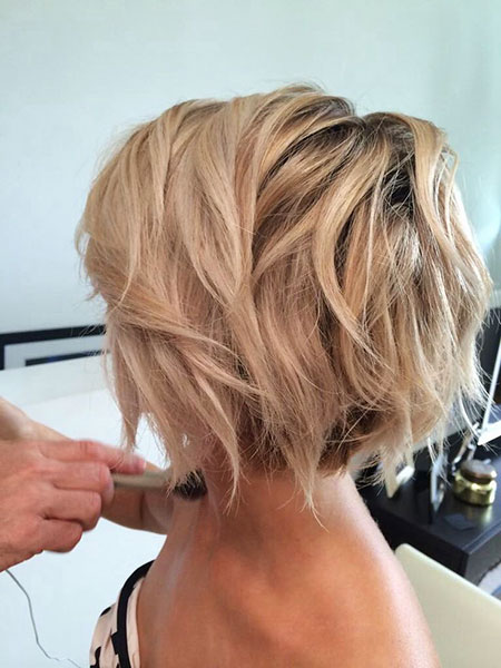Bob Blonde Short Layered Bobs Wavy Pixie Layers
