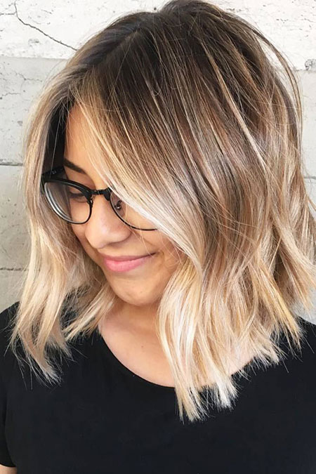 Blonde Shoulder Length Cute Balayage Pretty Middle