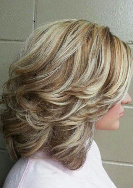 Medium Layers Blonde Length Highlights Updo