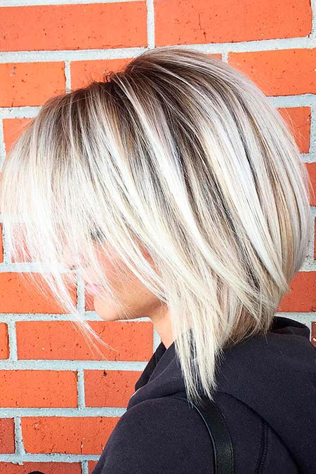 Blonde Bob Sassy Balayage Two Trendy Stacked Short Medium