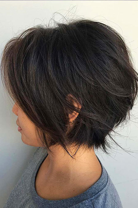 Bob Short Layered Trendy Pixie Choppy Thicker Summer
