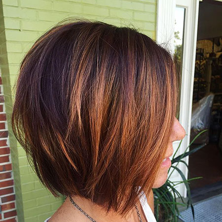 Balayage Bob Short Brown Women Sleek Ombre Lob