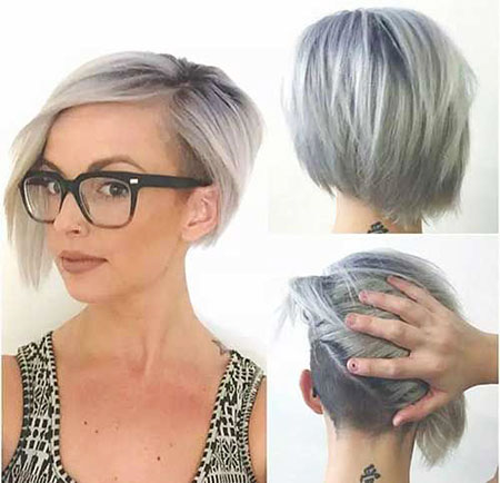 Short Under Bob Asymmetrical Pixie Gray
