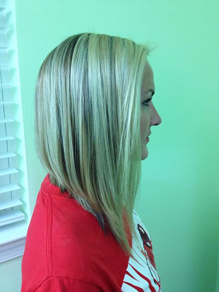 Bob Angled Long Bobs Blonde Reverse Layers Highlights