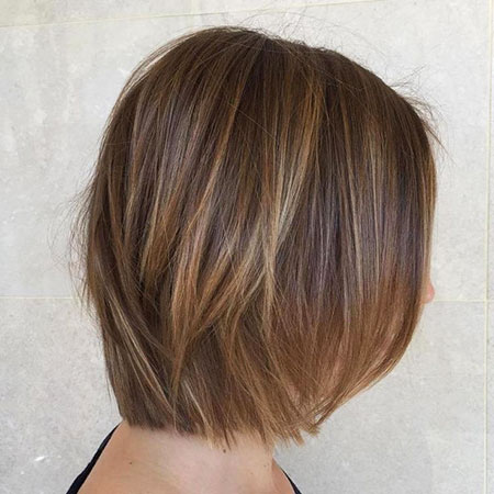 Bob Brown Light Balayage Highlights Blonde Thin Streaks