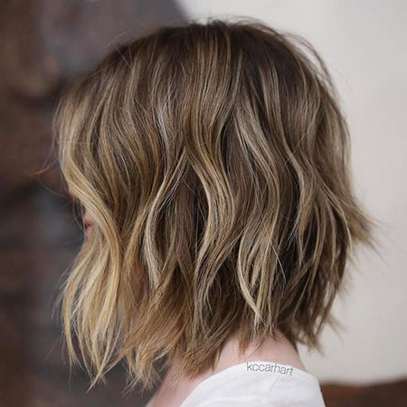 Bob Brown Balayage Highlights Choppy Blonde Long