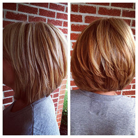 Bob Stacked Short Low Layered Highlights Bobs Balayage