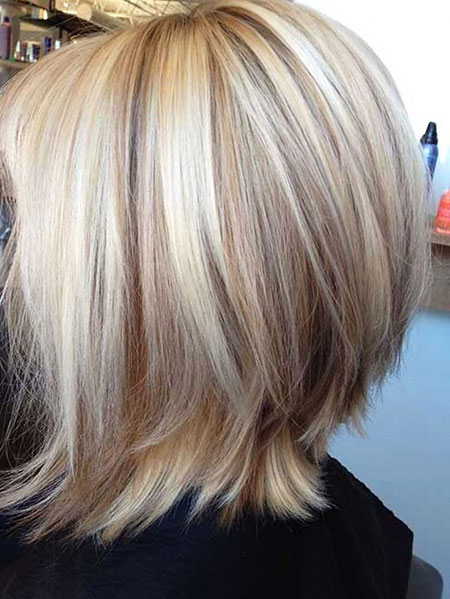 Bob Reverse Long Highlights Blonde Angled