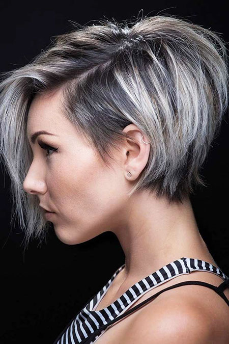 Short Pixie Trendy Stacked Sassy Frisyrer Chloe Brown Bob 40