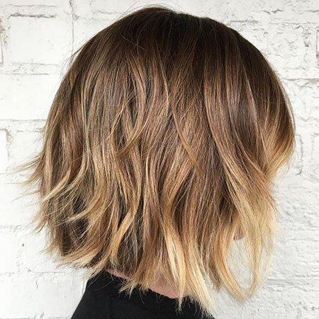 Bob Balayage Choppy Long Brown Blonde Longer Layers