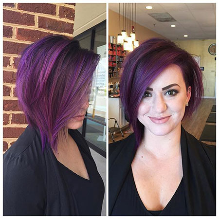 Under Purple Bob Women Up Mohawk Highlights Colored