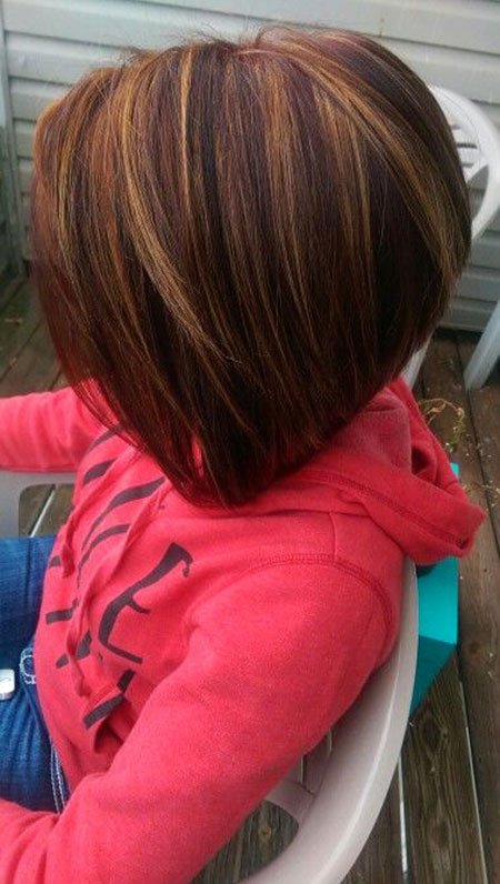 Bob Highlights Inverted Stacked Short Red Brunette