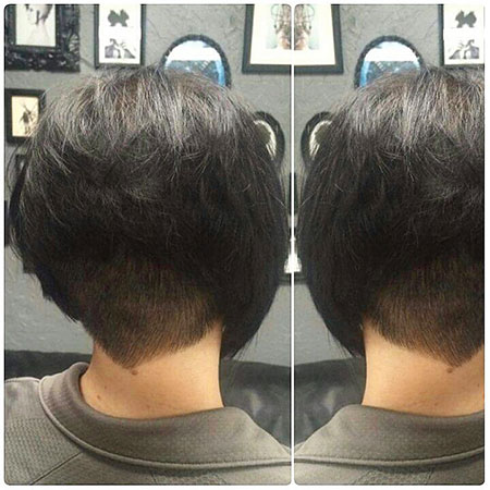 Under Stacked Bob Short Inverted Shaved Pixie