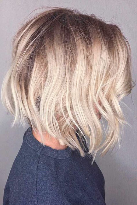 Layered Bob Haircut for Fine Hair, Blonde Bob Balayage Color