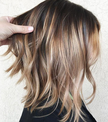 Lob Balayage Hair Bronde