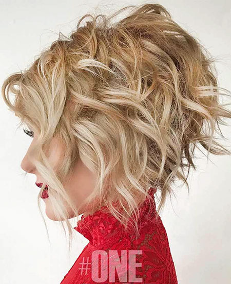 Short Layered Bob Hairtyle, Bob Blonde Thick Wavy