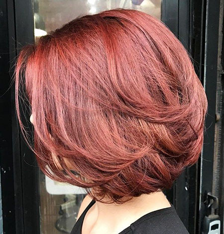Burgundy Hair Color, Bob Layered Hair Thick