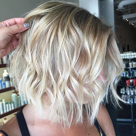 Wavy Hairtyle, Blonde Balayage Bob Thin