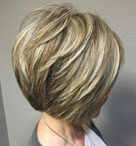 Easy Bob Hairtyle, Layered Bob Balayage Blonde
