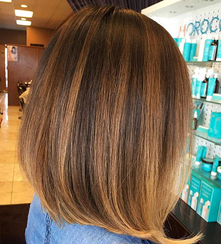 Bob Balayage Highlights Brown