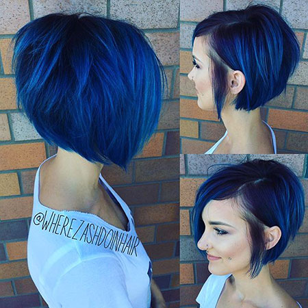 Short Asymmetrical Bob Hairtyles, Bob Hair Blue Asymmetrical