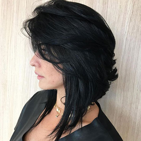 Black Lob Bob Layered