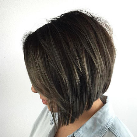 Bob Layered Angled Brunette