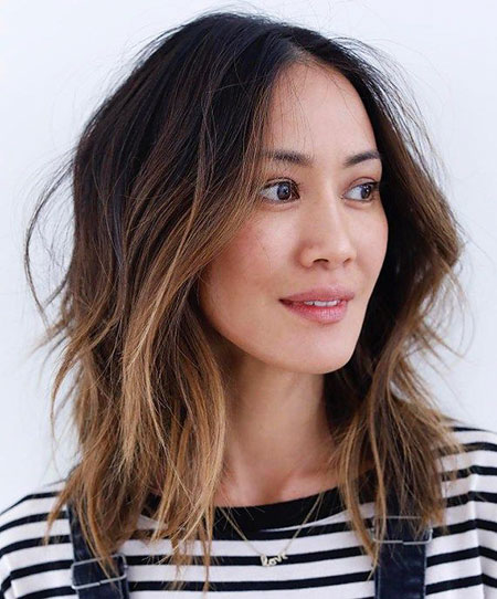 Brown Choppy Balayage Bob