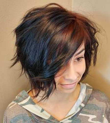 Bob Balayage Choppy Brown