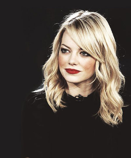 Lob with Long Side Swept Bangs, Emma Stone Margot Bob