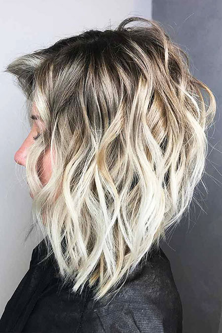 Wavy Hair, Blonde Balayage Bob Wavy