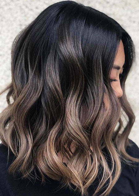 Brown Balayage Hair Color, Hair Balayage Lob Brown