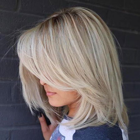 Layered Hair, Blonde Lob Bob Layered