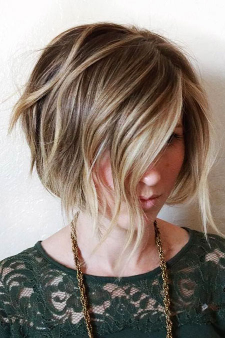 Bob Balayage Choppy Blonde