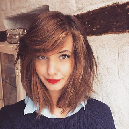 Asymmetrical Bob Hair, Lob Wavy Bangs De