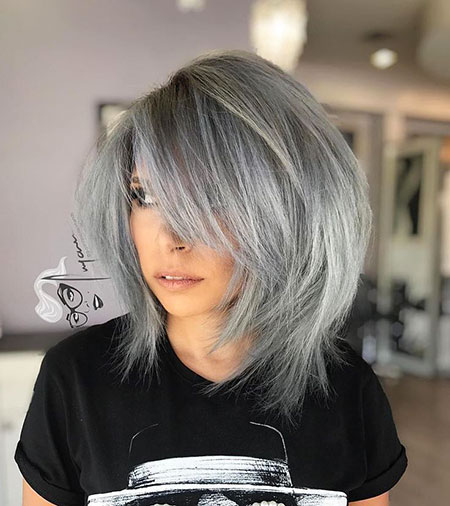 Gray Hair Color, Bob Gray Color Bangs