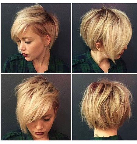 Short Asymmetrical Bob Hairtyle, Short Pixie Blonde Girls