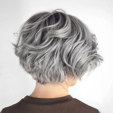Short Layered Bob Hairtyle, Layered Short Bob Silver