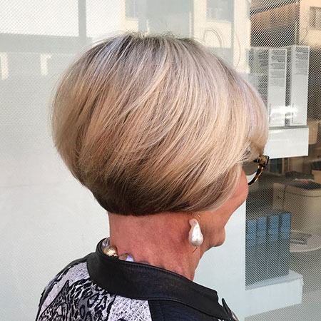 Short Bob Stacked Blonde