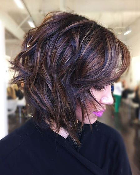 Short Brown Balayage Shag