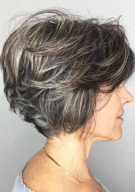 Bob Layered Short Brunette